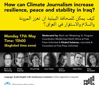 How can climate journalism increase resilience, peace and stability in Iraq?